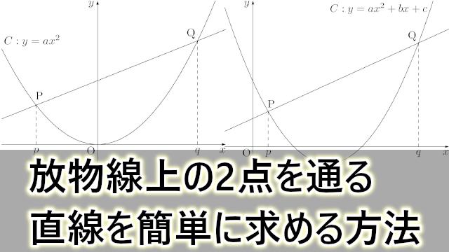 放物線上の2点を通る直線の式を簡単に求める方法