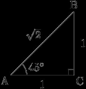 1:1:√2の直角三角形