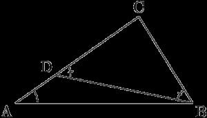 三角形の辺と角の大小関係は一致することの証明