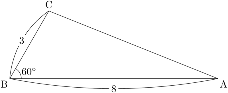 2辺の長さとその間の角が与えられた三角形の面積