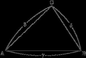 3辺の長さから三角形の面積を求める