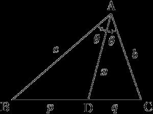 角の二等分線ADの長さの性質