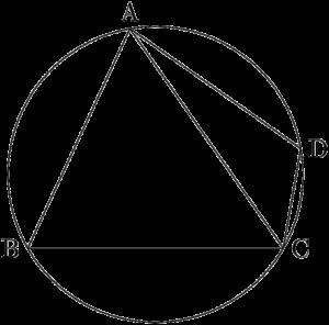 円に内接する四角形ABCDと対角線AC
