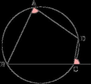 円に内接する四角形の内角はその対角の外角に等しい