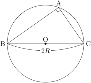 直角三角形ABCとその外接円
