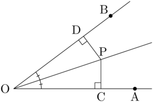 角の二等分線上の点から2直線までの距離は等しい理由