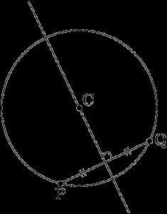 弦PQの垂直二等分線は円の中心Cを通る