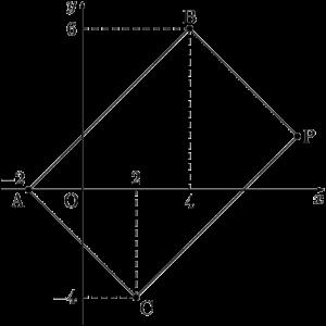 四角形ABPCが平行四辺形になる