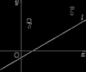 2点P,Qが直線lに対して同じ側にある