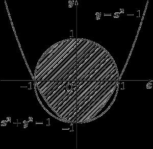 円と放物線を境界線とする領域