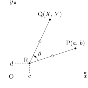 点Pを点Rのまわりにθだけ回転した点Q